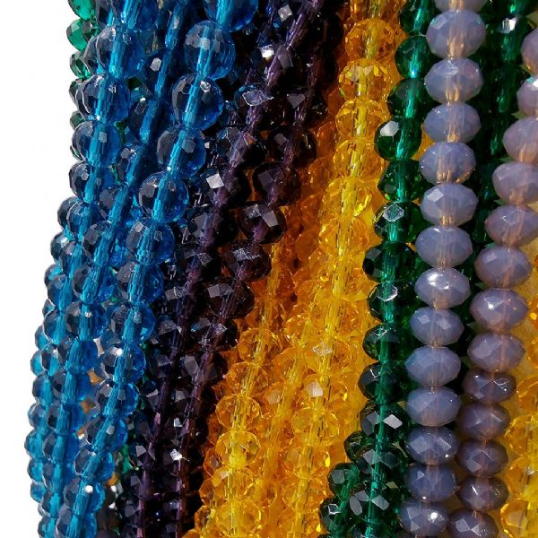 6mm Faceted Glass Rondelle Beads
